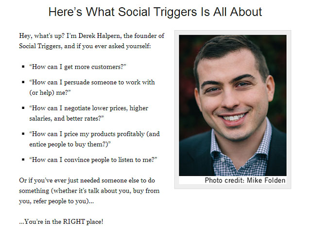 About Me page of Derek Halpern from Social Triggers